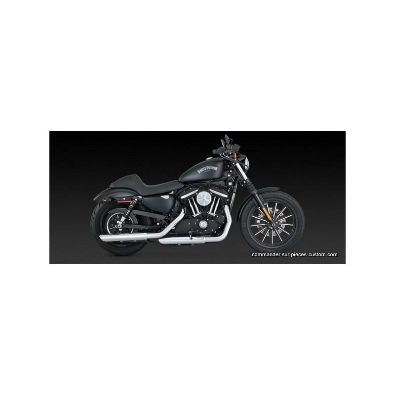 Silencieux Vance&Hines Twin Slash Chrome pour Sportster de 2014 à 2018